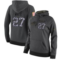 NFL Women's Nike Buffalo Bills #27 Tre'Davious White Stitched Black Anthracite Salute to Service Player Performance Hoodie