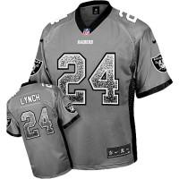 Nike Oakland Raiders #24 Marshawn Lynch Grey Men's Stitched NFL Elite Drift Fashion Jersey