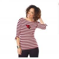 Arizona Cardinals Lady Striped Boatneck Three-Quarter Sleeve T-Shirt