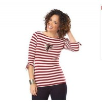 Atlanta Falcons Lady Striped Boatneck Three-Quarter Sleeve T-Shirt