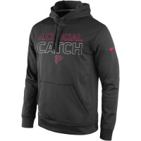 Atlanta Falcons Nike Breast Cancer Awareness KO Pullover Performance Hoodie Charcoal