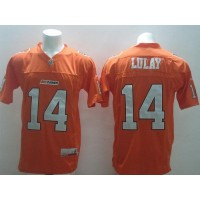 BC Lions #14 Travis Lulay Orange Stitched CFL Jersey