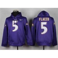 Baltimore Ravens #5 Joe Flacco Purple Pullover Hoodie