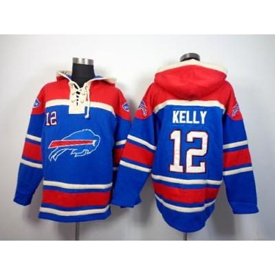 Buffalo Bills #12 Jim Kelly Royal Blue Sawyer Hooded Sweatshirt NFL Hoodie