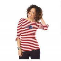 Buffalo Bills Lady Striped Boatneck Three-Quarter Sleeve T-Shirt