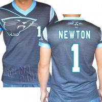 Carolina Panthers #1 Cam Newton Stretch Name Number Player Personalized Black Mens Adults NFL T-Shirts Tee Shirts
