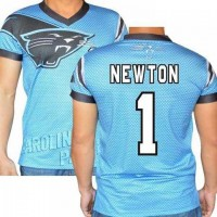 Carolina Panthers #1 Cam Newton Stretch Name Number Player Personalized Blue Mens Adults NFL T-Shirts Tee Shirts