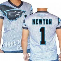 Carolina Panthers #1 Cam Newton Stretch Name Number Player Personalized White Mens Adults NFL T-Shirts Tee Shirts