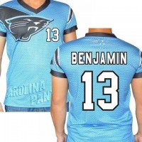 Carolina Panthers #13 Kelvin Benjamin Stretch Name Number Player Personalized Blue Mens Adults NFL T-Shirts Tee Shirts