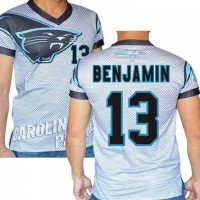 Carolina Panthers #13 Kelvin Benjamin Stretch Name Number Player Personalized White Mens Adults NFL T-Shirts Tee Shirts