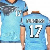 Carolina Panthers #17 Devin Funchess Stretch Name Number Player Personalized Blue Mens Adults NFL T-Shirts Tee Shirts