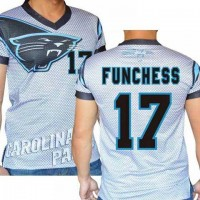 Carolina Panthers #17 Devin Funchess Stretch Name Number Player Personalized White Mens Adults NFL T-Shirts Tee Shirts