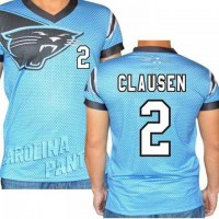 Carolina Panthers #2 Jimmy Clausen Stretch Name Number Player Personalized Blue Mens Adults NFL T-Shirts Tee Shirts