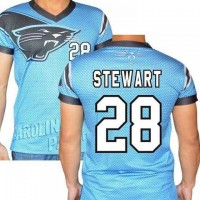 Carolina Panthers #28 Jonathan Stewart Stretch Name Number Player Personalized Blue Mens Adults NFL T-Shirts Tee Shirts