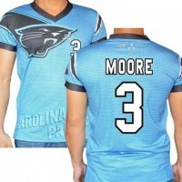 Carolina Panthers #3 Derek Anderson Stretch Name Number Player Personalized Blue Mens Adults NFL T-Shirts Tee Shirts