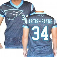 Carolina Panthers #34 Cameron Artis-Payne Stretch Name Number Player Personalized Black Mens Adults NFL T-Shirts Tee Shirts