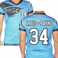 Carolina Panthers #34 Cameron Artis-Payne Stretch Name Number Player Personalized Blue Mens Adults NFL T-Shirts Tee Shirts