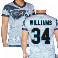 Carolina Panthers #34 DeAngelo Williams Stretch Name Number Player Personalized White Mens Adults NFL T-Shirts Tee Shirts