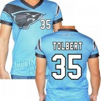 Carolina Panthers #35 Mike Tolbert Stretch Name Number Player Personalized Blue Mens Adults NFL T-Shirts Tee Shirts