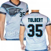 Carolina Panthers #35 Mike Tolbert Stretch Name Number Player Personalized White Mens Adults NFL T-Shirts Tee Shirts