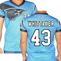 Carolina Panthers #43 Fozzy Whittaker Stretch Name Number Player Personalized Blue Mens Adults NFL T-Shirts Tee Shirts
