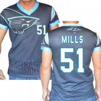 Carolina Panthers #51 Sam Mills Stretch Name Number Player Personalized Black Mens Adults NFL T-Shirts Tee Shirts