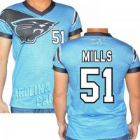 Carolina Panthers #51 Sam Mills Stretch Name Number Player Personalized Blue Mens Adults NFL T-Shirts Tee Shirts