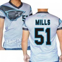 Carolina Panthers #51 Sam Mills Stretch Name Number Player Personalized White Mens Adults NFL T-Shirts Tee Shirts