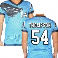 Carolina Panthers #54 Shaq Thompson Stretch Name Number Player Personalized Blue Mens Adults NFL T-Shirts Tee Shirts
