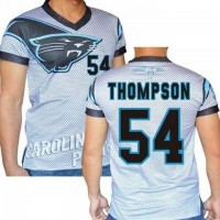 Carolina Panthers #54 Shaq Thompson Stretch Name Number Player Personalized White Mens Adults NFL T-Shirts Tee Shirts