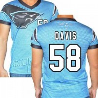 Carolina Panthers #58 Thomas Davis Sr Stretch Name Number Player Personalized Blue Mens Adults NFL T-Shirts Tee Shirts