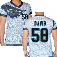 Carolina Panthers #58 Thomas Davis Sr Stretch Name Number Player Personalized White Mens Adults NFL T-Shirts Tee Shirts