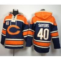 Chicago Bears #40 Gale Sayers Navy Blue Sawyer Hooded Sweatshirt NFL Hoodie