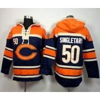 Chicago Bears #50 Mike Singletary Navy Blue Sawyer Hooded Sweatshirt NFL Hoodie