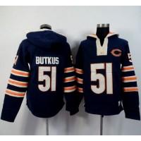 Chicago Bears #51 Dick Butkus Navy Blue Player Winning Method Pullover NFL Hoodie