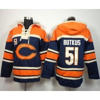 Chicago Bears #51 Dick Butkus Navy Blue Sawyer Hooded Sweatshirt NFL Hoodie
