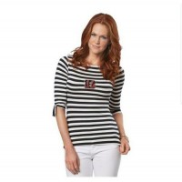 Cincinnati Bengals Lady Striped Boatneck Three-Quarter Sleeve T-Shirt