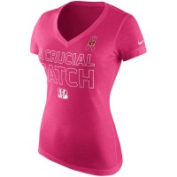Cincinnati Bengals Nike Women's Breast Cancer Awareness V Neck Tri Blend T-Shirt Pink
