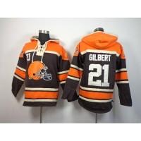 Cleveland Browns #21 Justin Gilbert Brown Sawyer Hooded Sweatshirt NFL Hoodie