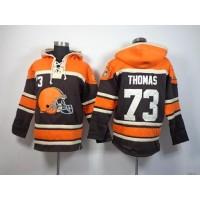 Cleveland Browns #73 Joe Thomas Brown Sawyer Hooded Sweatshirt NFL Hoodie