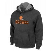 Cleveland Browns Authentic Logo Pullover Hoodie Dark Grey