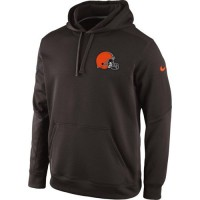 Cleveland Browns Historic Logo Nike KO Chain Fleece Pullover Performance Hoodie Brown