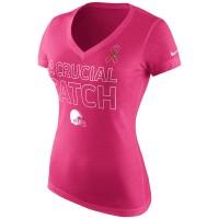 Cleveland Browns Nike Women's Breast Cancer Awareness Tri Blend V Neck T-Shirt Pink