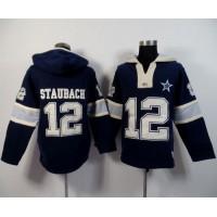 Dallas Cowboys #12 Roger Staubach Navy Blue Player Winning Method Pullover NFL Hoodie