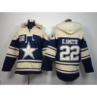 Dallas Cowboys #22 Emmitt Smith Navy Blue Sawyer Hooded Sweatshirt NFL Hoodie