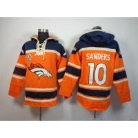Denver Broncos #10 Emmanuel Sanders Orange Sawyer Hooded Sweatshirt NFL Hoodie