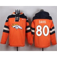 Denver Broncos #80 Vernon Davis Orange Player Pullover NFL Hoodie