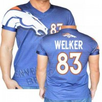 Denver Broncos #83 Wes Welker Stretch Name Number Player Personalized Blue Mens Adults NFL T-Shirts Tee Shirts
