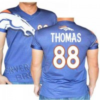 Denver Broncos #88 Demaryius Thomas Stretch Name Number Player Personalized Blue Mens Adults NFL T-Shirts Tee Shirts