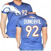 Denver Broncos #92 Dumervil Stretch Name Number Player Personalized Blue Mens Adults NFL T-Shirts Tee Shirts